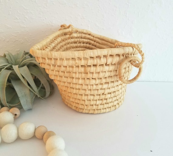Woven Raffia Straw Basket/ Plant Holder