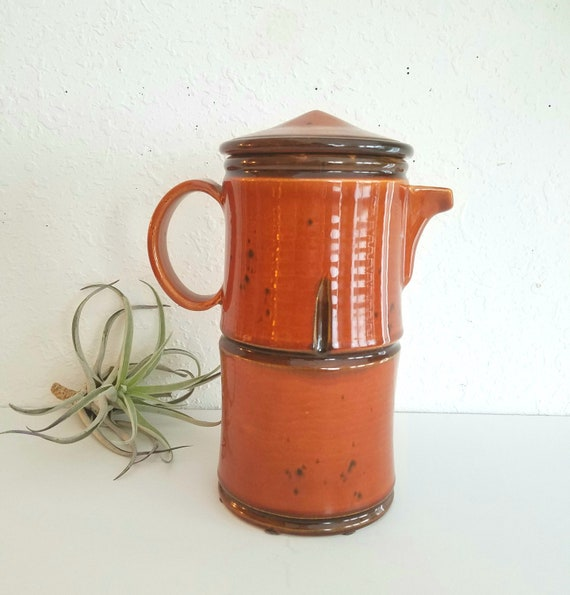 Vintage Brown  Ceramic Baldelli Pitcher with Lid