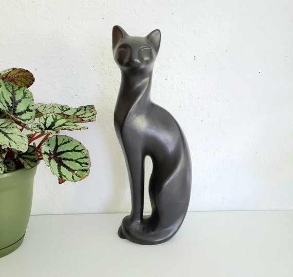 Tall Matte Black Vintage MCM Cat