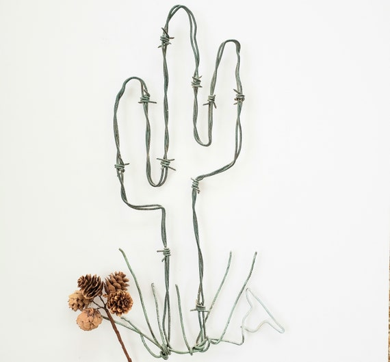 Barbed Wire Cactus Shaped Saguaro Wall Hanging