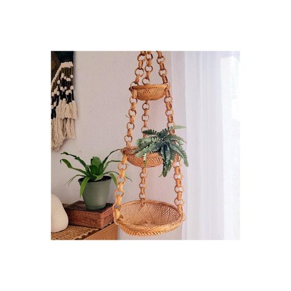 Vintage 3 Tier Wicker Fruit/Plant Hanger
