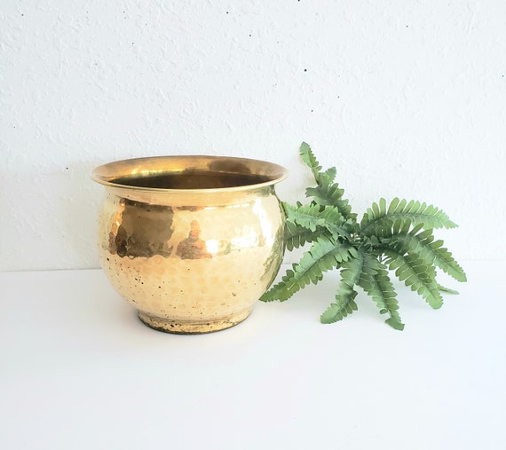 Vintage Brass Hammered Planter