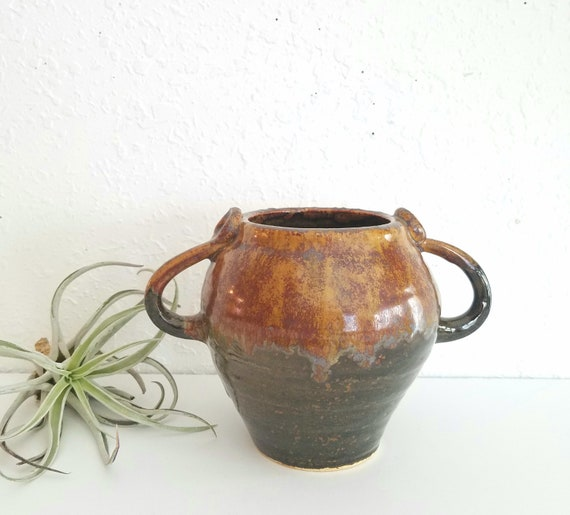 Brown Vintage Studio Pottery Two Handle Vase