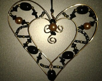 Black Beaded Heart