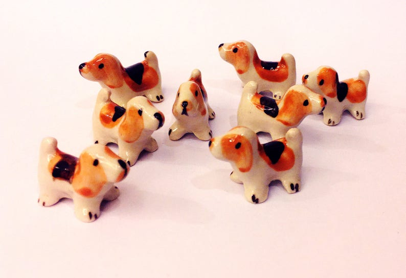 Miniature Ceramic Dogs Figurine Statue Decorative Collectibles Small Pet Best friend Little Dog Yellow Brown