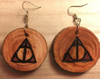 Woodburned Deathly Hallows Earrings