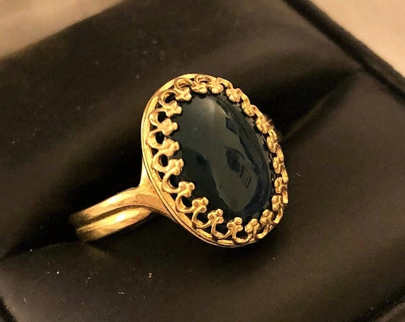 Green Onyx Adjustable Ring in a Brass Crown Bezel Setting.
