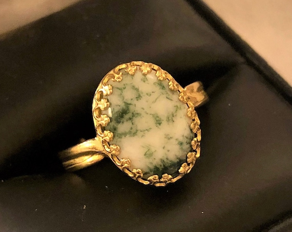 Tree Agate adjustable ring encased in a Brass Crown Bezel Setting.