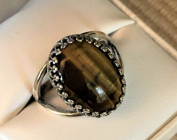 Tiger Eye adjustable ring in a Silver Plated Crown Setting