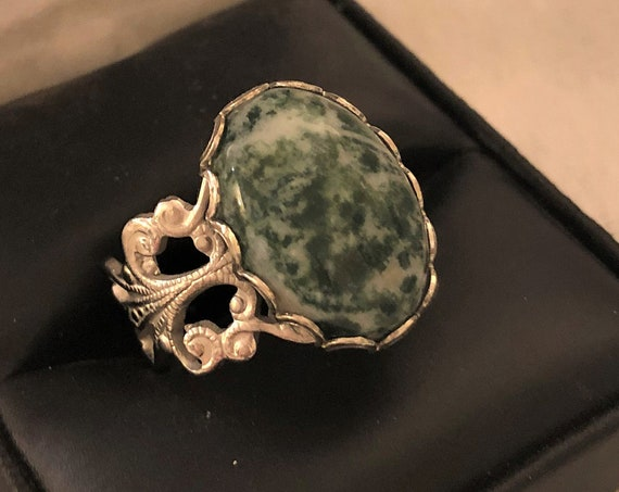 Tree Agate adjustable ring encased in a White Plated Filigree Setting.