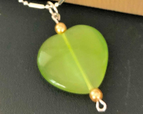 Green Cats Eye Heart Pendant with Sterling Silver Wire and Czech Glass Beads