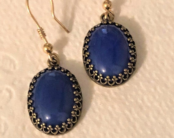 Blue Onyx Earrings set in a Brass Crown Setting with 14K Gold-Filled French Ear Wires.