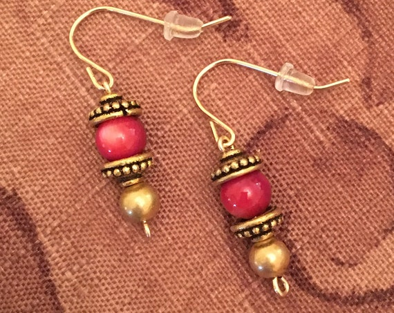 Red Shell Beaded Earrings wrapped with 14K Gold Filled Wire.