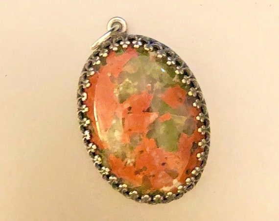 Unakite Cabochon encased in a Silver Plated Setting,