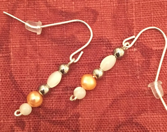 Fresh Water Pearl and Mother of Pearl Beaded Earrings wrapped with Sterling Silver Wire.