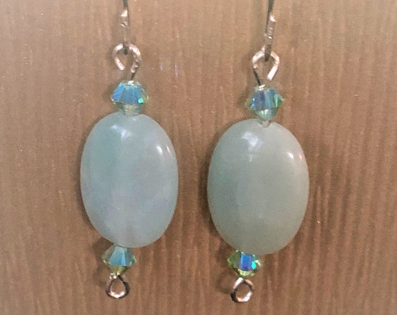 Amazonite earrings with sterling Silver Wire and Swarovski Crystals