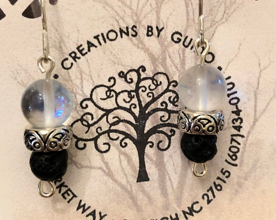 Aroma Therapy Earrings (Clear) featuring Lava Rock wrapped with Sterling Silver Wire.