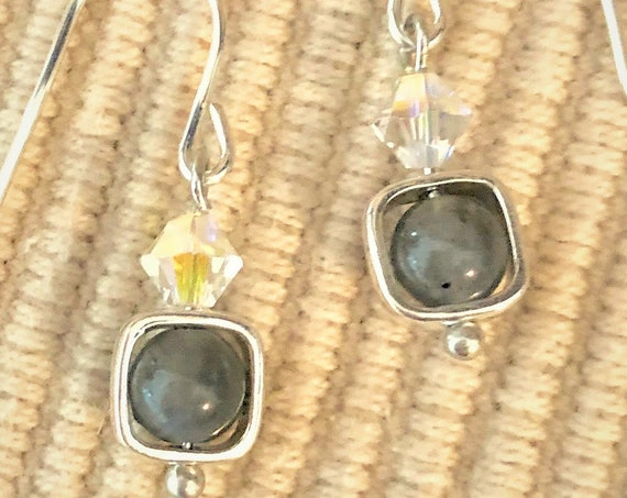 Labradorite Earrings are enclosed in simple Sterling Silver Square Bead Frames and have Sterling Silver Ear Wires.