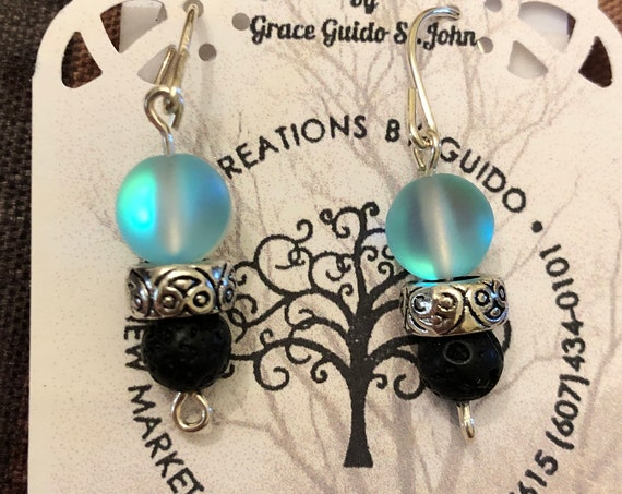 Aroma Therapy Earrings (blue) featuring Lava Rock Beads and wire wrapped with Sterling Silver Wire