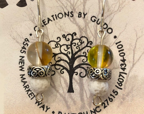 Aroma Therapy Earrings (yellow) featuring Lava Rock and wrapped with Sterling Silver Wire.