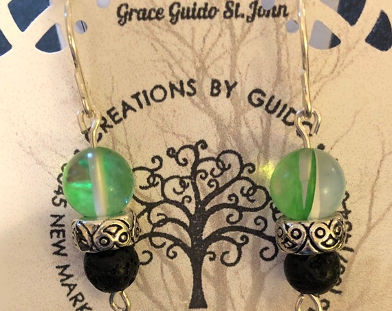 Aroma Therapy Earrings (green) featuring Lava Rock Beads and wire wrapped with Sterling Silver Wire