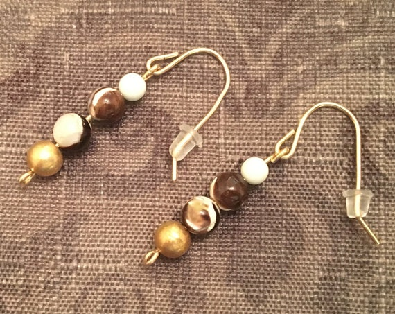 Mother of Pearl Beaded Earrings wrapped with 14K Gold Filled Wire.