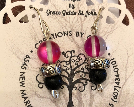 Aroma Therapy Earrings (red) featuring Lava Rock Beads and wire wrapped with Sterling Silver Wire