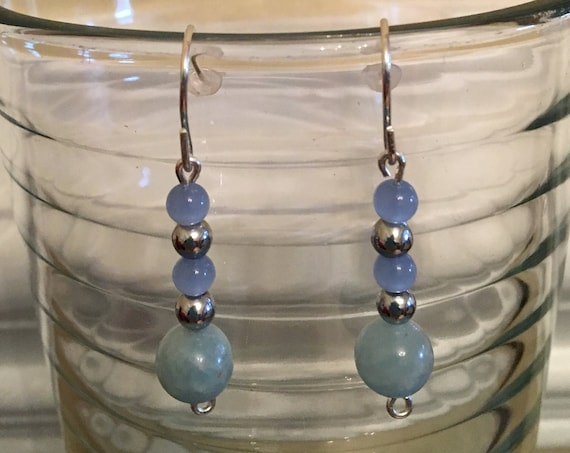 Aquamarine and Hematite Beaded Earrings wrapped with Sterling Silver Wire.