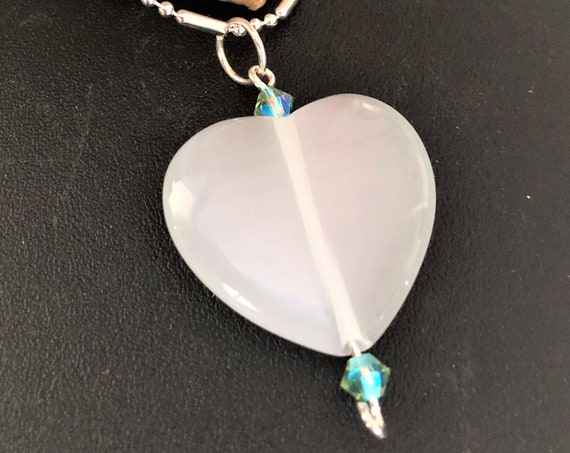 White Cats Eye Heart Pendant Sterling Silver Wire and Swarovski Crystals.