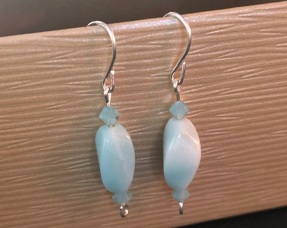 Amazonite Twist Earrings in Sterling Silver Wire and Swarovski Crystal Beads.