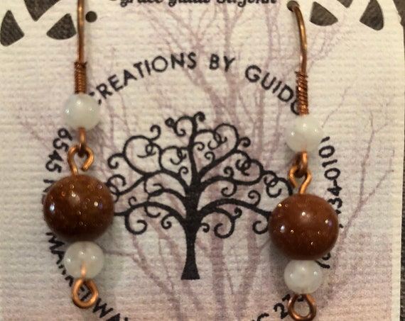 Goldstone and Moonstone Beaded Earrings wrapped with Copper Wire.