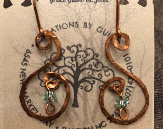 Copper Earrings with Swarovski Crystals.