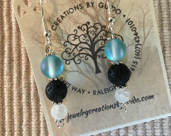 Aroma Therapy Earrings featuring Lava Rock and wrapped with Sterling Silver Wire.