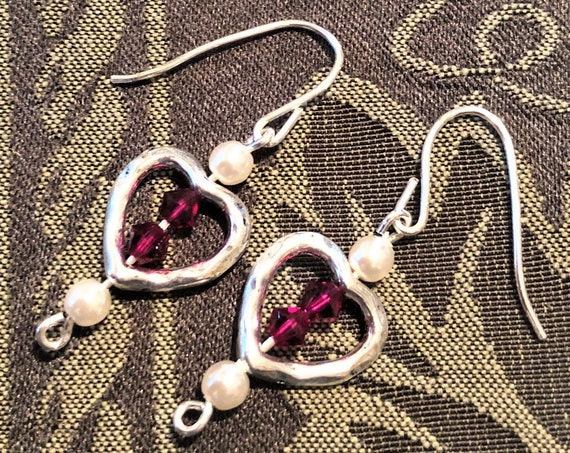 Red Swarovski Crystal Heart Earrings with Czech Pearls in a Silver Plated Heart.