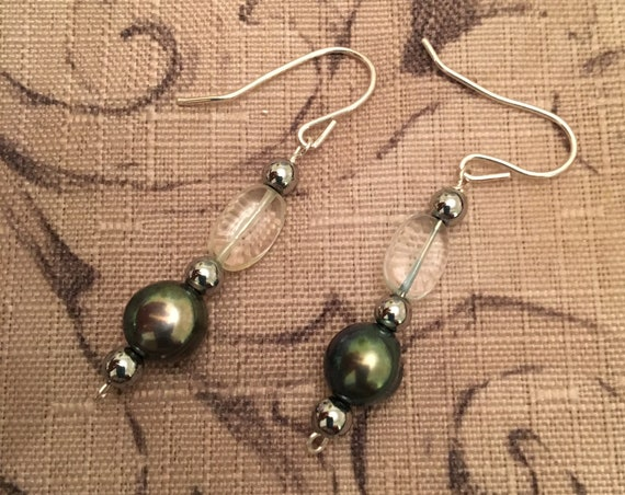 Fresh Water Pearls and Aquamarine Beaded Earrings wrapped with Sterling Silver Wire.