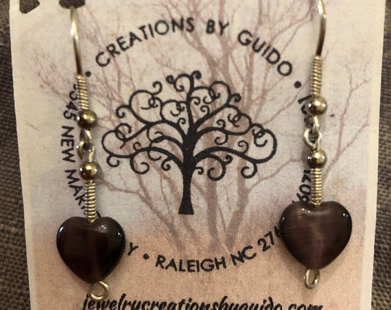 Heart Shaped Cats Eye and Sterling Silver Beaded Earrings wrapped with Sterling Silver Wire.