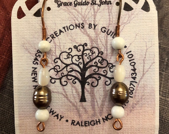 Fresh Water Pearl, Shell and Howlite Beaded Earrings wrapped with Copper Wire