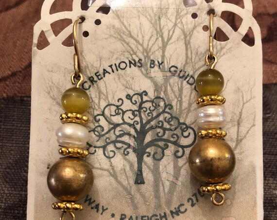 Fresh Water Pearl, Cats Eye, Gold Plated Beaded Earrings wrapped with 14K Gold Filled Wire.
