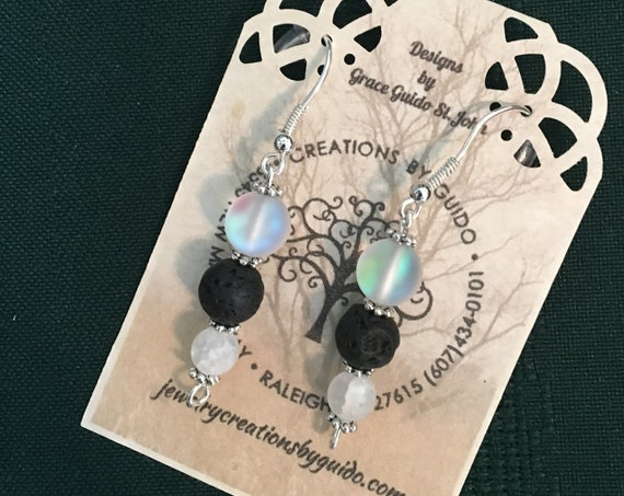 Aroma Therapy Earrings featuring Lava Rock Beads and wire wrapped with Sterling Silver Wire