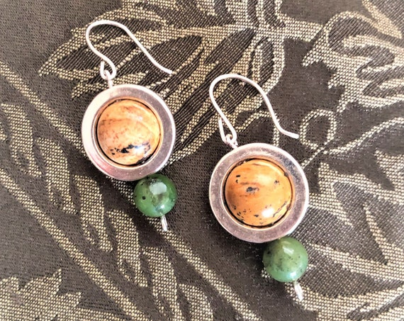 Planet Earrings.   Saturn and Uranus Earrings with Sterling Silver Ear Wires.