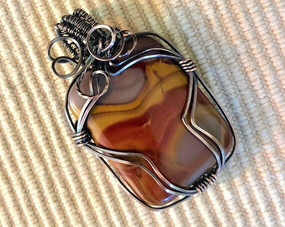 Red Picasso Jasper Cabochon wrapped in Oxidized Copper Wire