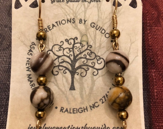 Zebra Stone, Hematite Beaded Earrings wrapped with 14K Gold Filled Wire.