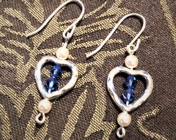 Blue Swarovski Crystal Earrings with Czech Pearls in a Silver Plated Heart Setting.