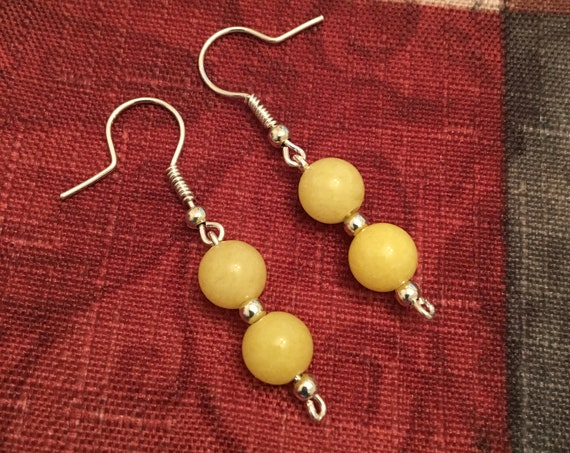 Yellow Jade Beaded Earrings wrapped with Sterling Silver Wire.