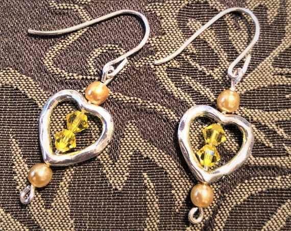Yellow Swarovski Crystal Earrings with Czech Pearls in a Silver Plated Heart Frame.