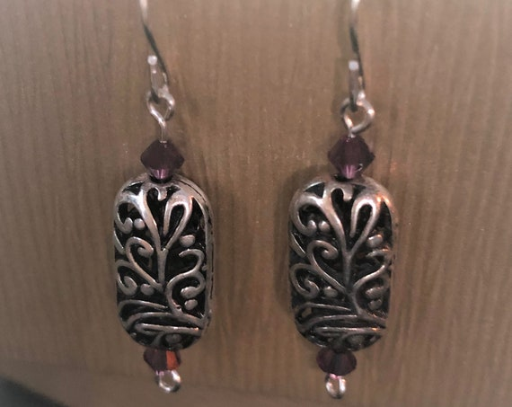 Silver Plated Vines and Flowers Earrings with Sterling Silver Wire and Swarovski Crystals.