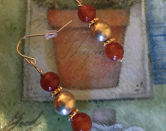 Fire Agate and Gold Plated Beaded Earrings wrapped with 14K Gold Filled Wire.