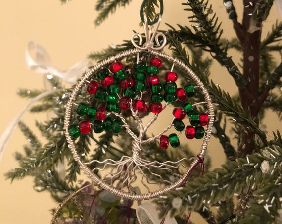 Sterling Silver Tree of Life Pendant w/ Red and Green Czech Glass Beads