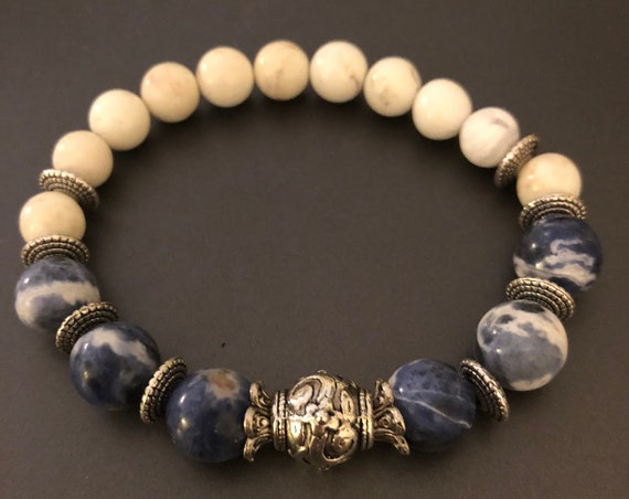 Sodalite Beaded Bracelet with Howlite and Pewter Bead and Spacers.