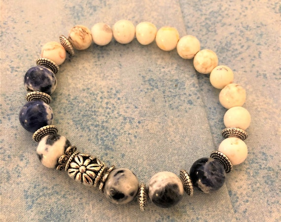 Sodalite Beaded Bracelet with Howlite Beads and Pewter Spacers.